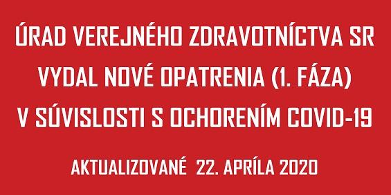 COVID-19 UVZSR nove opatrenia FAZA_1 - 22 Apr 2020