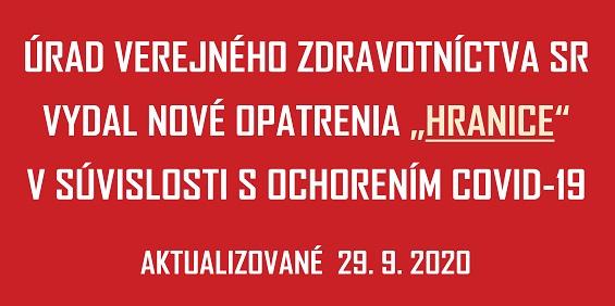 COVID-19 UVZSR nove opatrenia HRANICE_565px - 29 Sep 2020